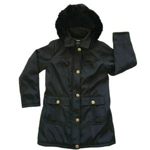 Black Water Resistant Coat Quilted Lining